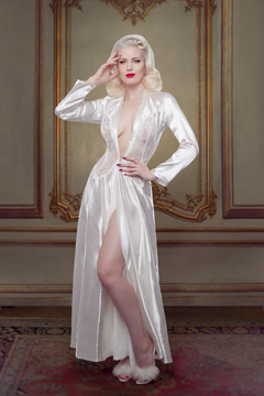 Nell Robe, ivory silk bridal robe