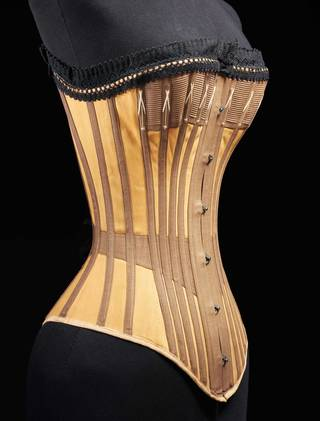 Corset, cotton, whalebone, about 1890